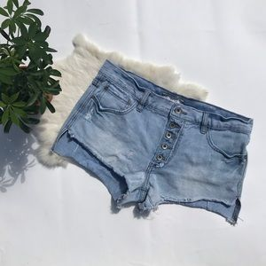 Free People High Waist Button Fly Jean Shorts 28